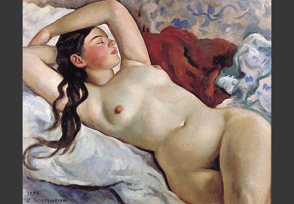 Зинаида Серебрјакова (1884-1967): Нага девојка у лежећем положају. Портрет Неведомске (1935).