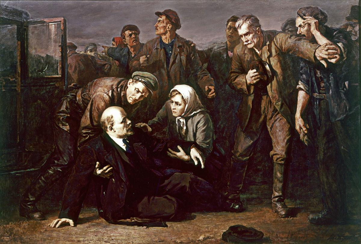 ピョートル・ベロウソフ (1912-1989)。「ウラジーミル・レーニンの暗殺の試み」。V・I・レーニン中央博物館、レニングラード支部。
