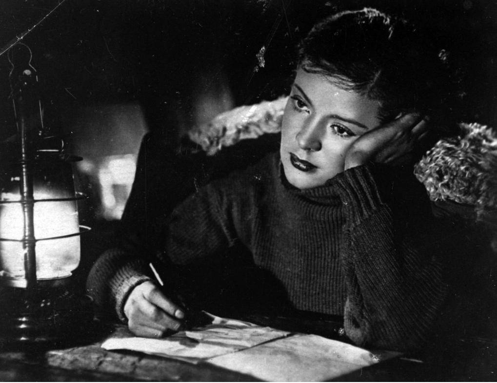 Reprodukcija fotografije igralke Zoje Fjodorove iz filma Tri ženske