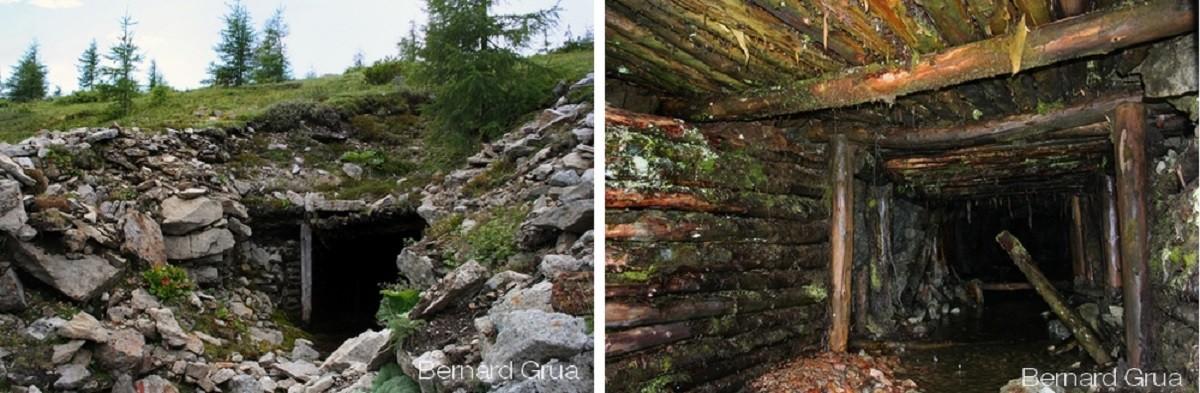 Première galerie horizontale sur le flanc droit de la montagne dans un état dégradé.