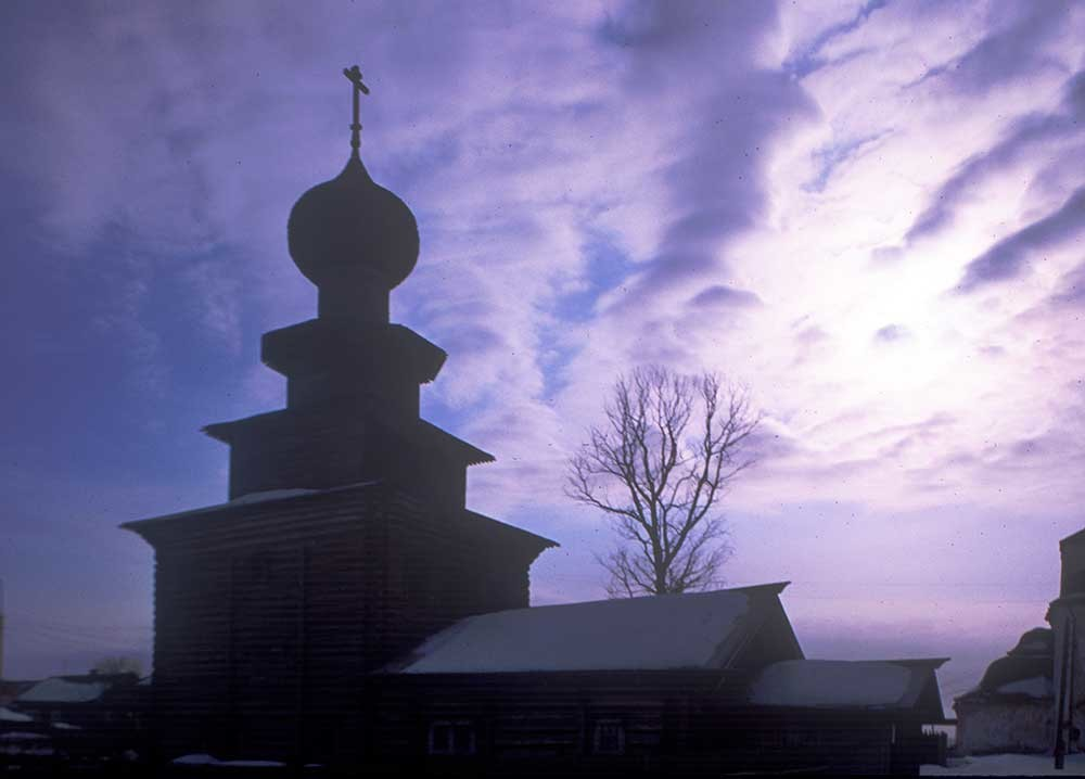 Church of the Prophet Elijah, winter silhouette. North view. March 3, 1998.