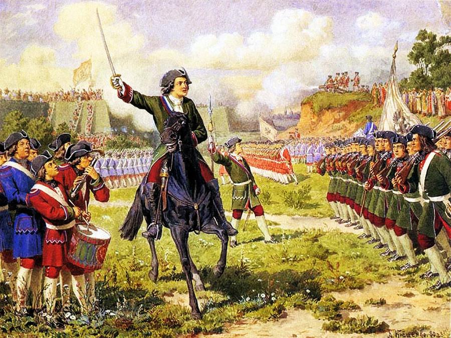 Der junge Peter I. und seine Kinder-Regimenter