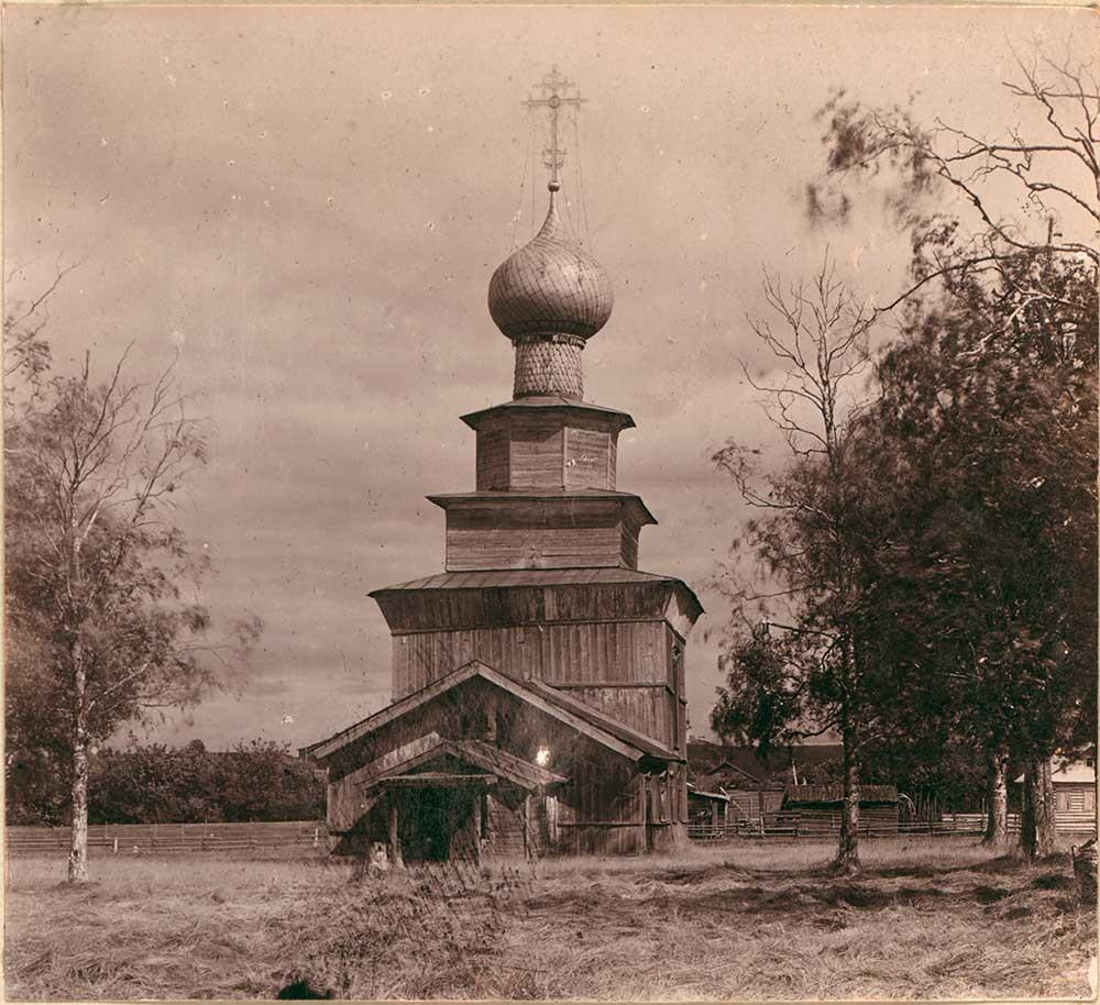 Iglesia del Profeta Elías con cruz de hierro original. Vista oeste (impresión de contacto). Verano de 1909.
