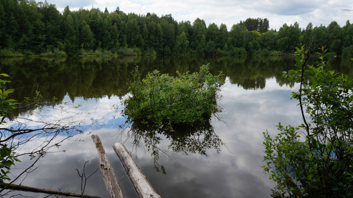 Shaitan Lake with a floating 'island'