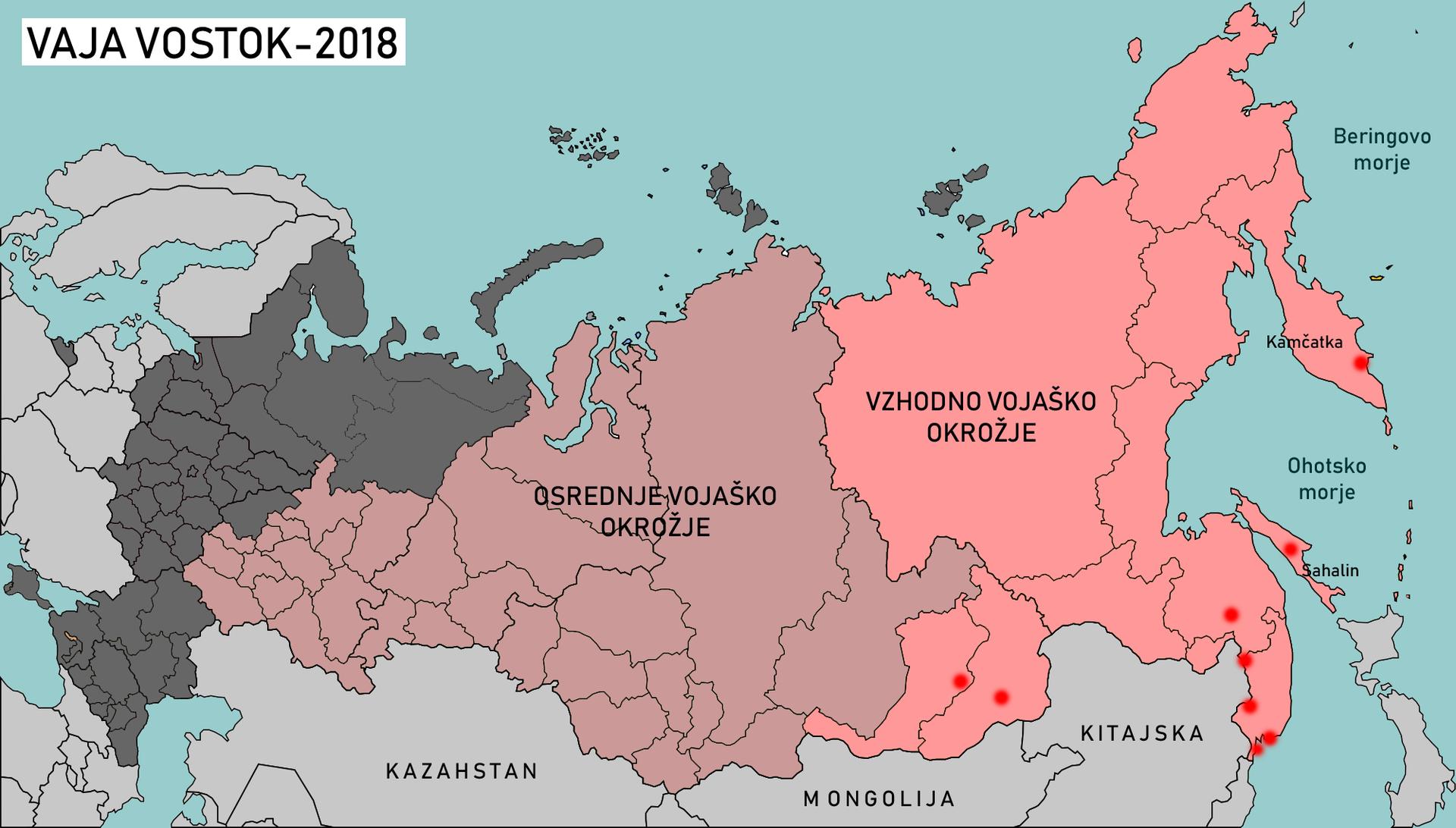 Približne lokacije poligonov, kjer se bodo izvajali manevri Vostok-2018