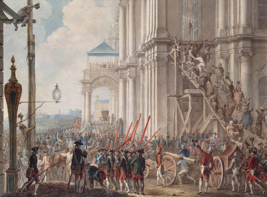 'Catherine on the balcony of the Winter Palace welcoming the Guards and the People on the day of the coup' by Joachim Kästner