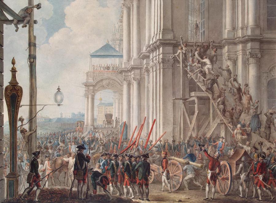 Ekaterina II. na balkonu Zimskega dvorca, pod katerim sta jo pozdravila garda in ljudstvo na dan prevrata 28. junija 1762, naslikano po originalu Joachima Koesterja