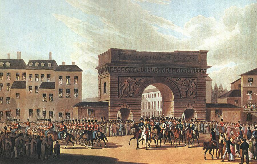 Vstop ruskih čet v Pariz, 31. marec 1814, neznan slikar po originalu I. F. Hugla po risbi U.-L. Wolfa, 1815, Sankt Peterburg. Poleg Aleksandra I. še Barclay de Tolly in Friedrich Wilhelm III., v ozadju pariška vrata Saint-Martin.