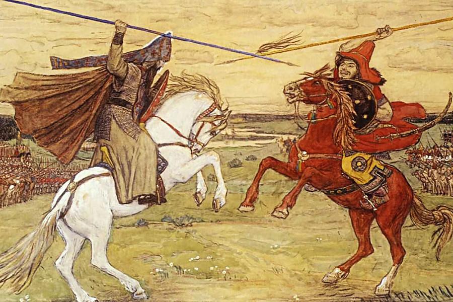 修道士ペレスヴェートとタタールの武将チェルベイの一騎討ち