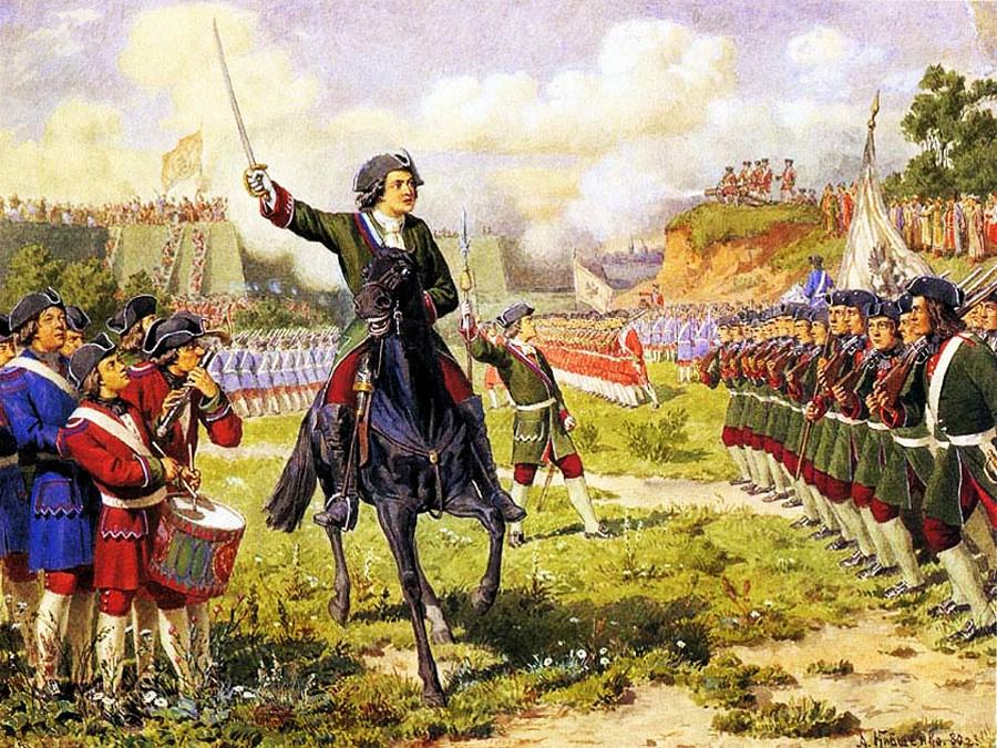 Jogos de guerra com as tropas de Pedro, o Grande, nos arredores da aldeia Kojukhovo.