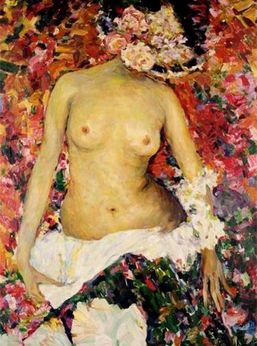 Mulher nua com chapéu decorado com flores, Filipp Maliávin