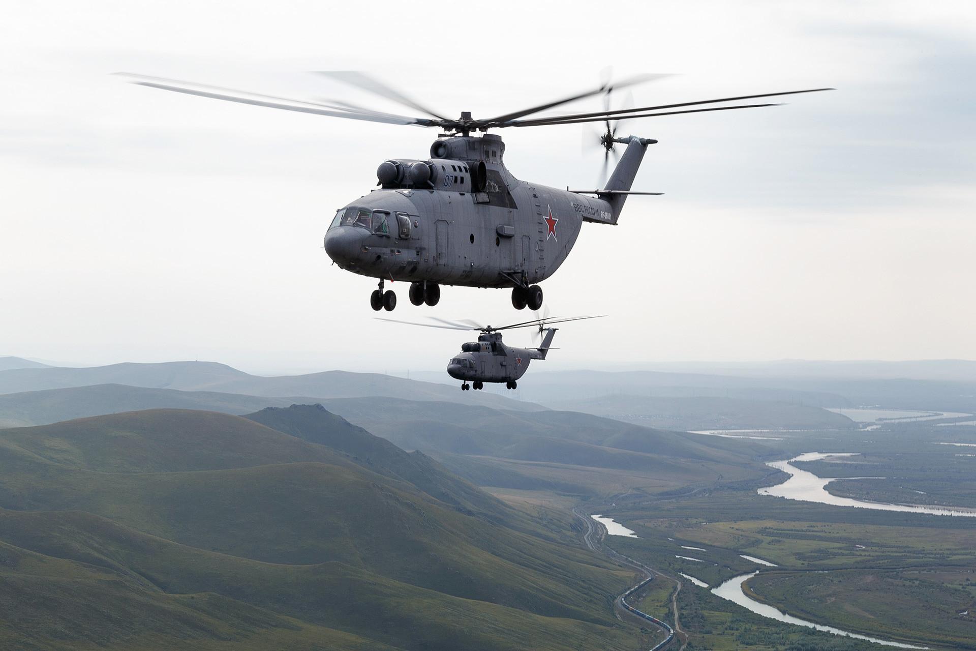 Helicópteros rusos Mi-26.
