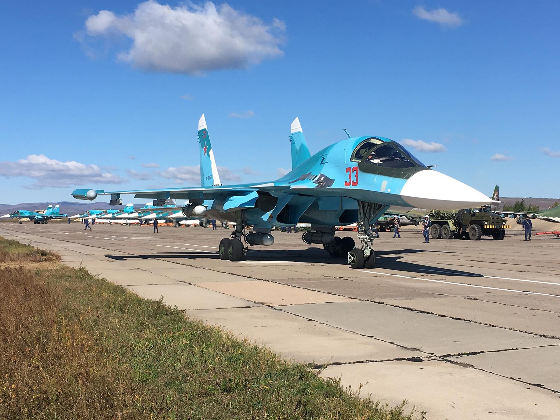 Avión de ataque y cazabombardero ruso Su-34.
