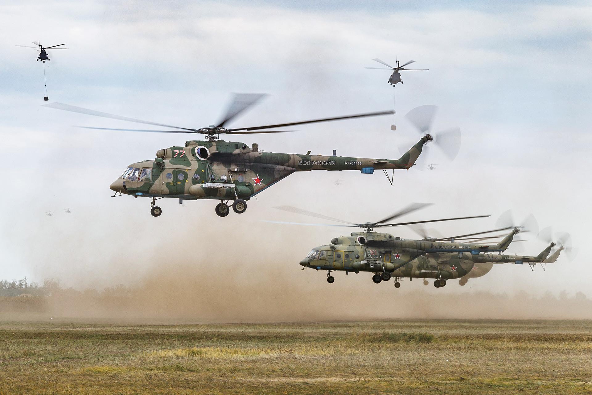 ヘリコプター「Mi-8AMTSh」。ツゴル演習場で行われた露中合同軍事演習「ボストーク2018」にて。