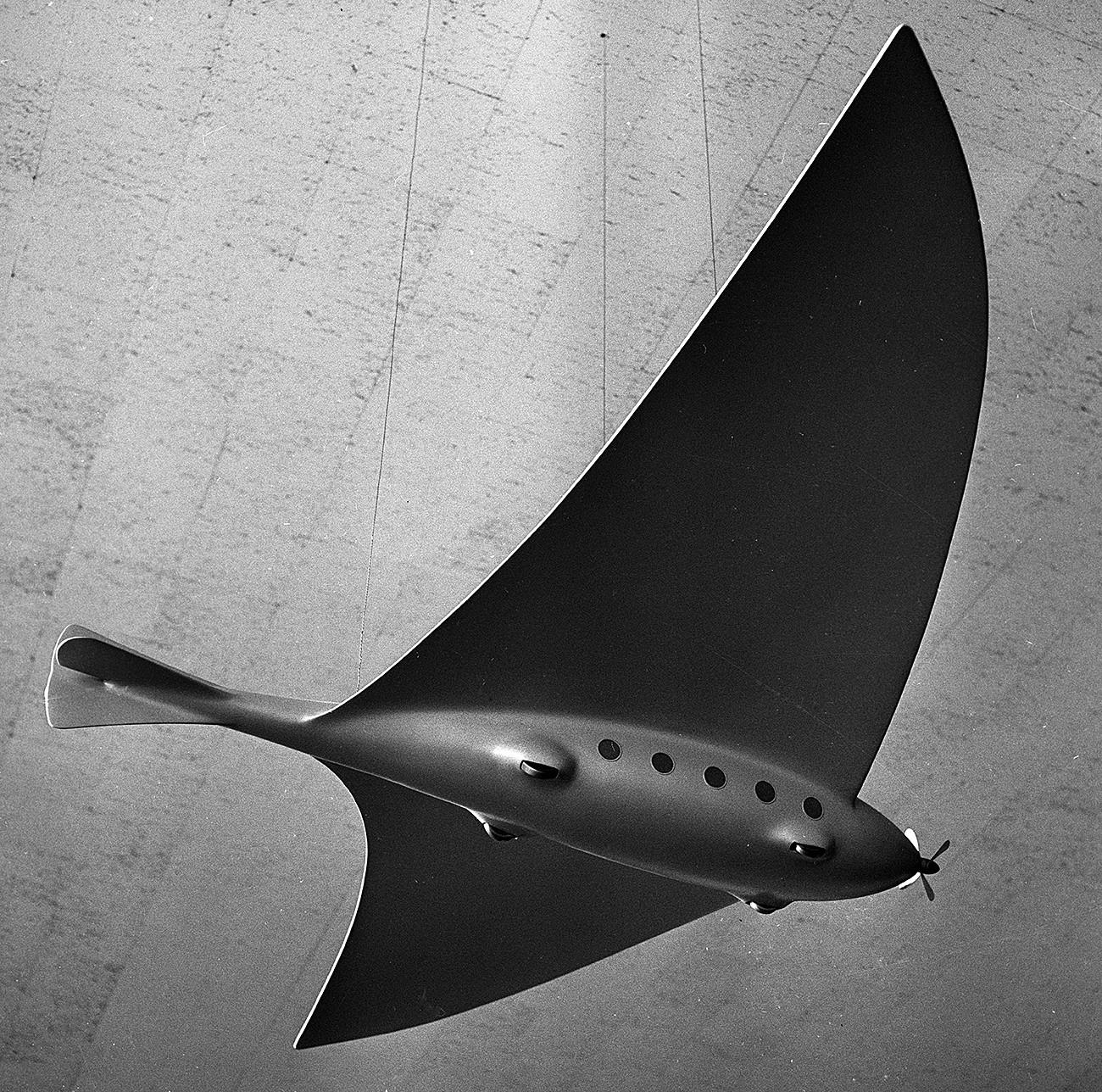 Model letala po skicah Konstantina Ciolkovskega iz leta 1895 v Državnem muzeju za zgodovino kozmonavtike Ciolkovskega v Kalugi