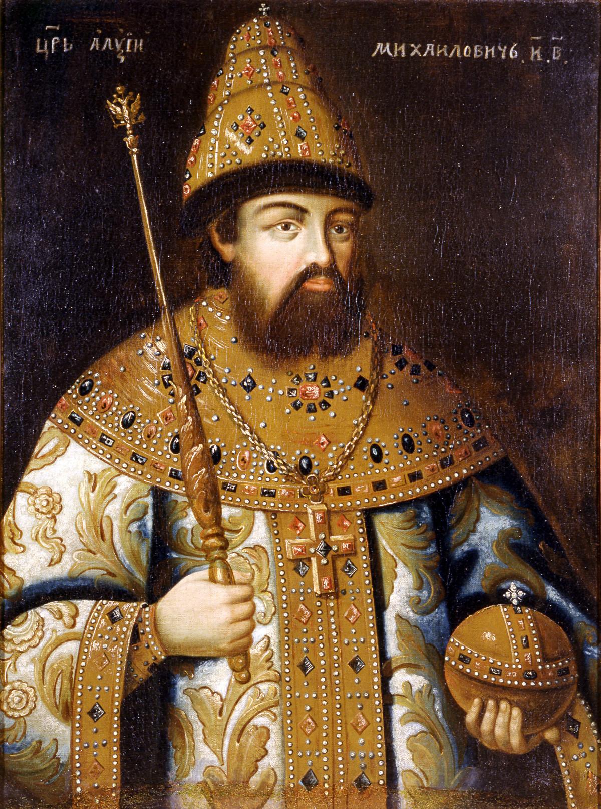 ロマノフ家の二番目のツァーリ、アレクセイ・ミハイロヴィチ。不明の画家。複写物。