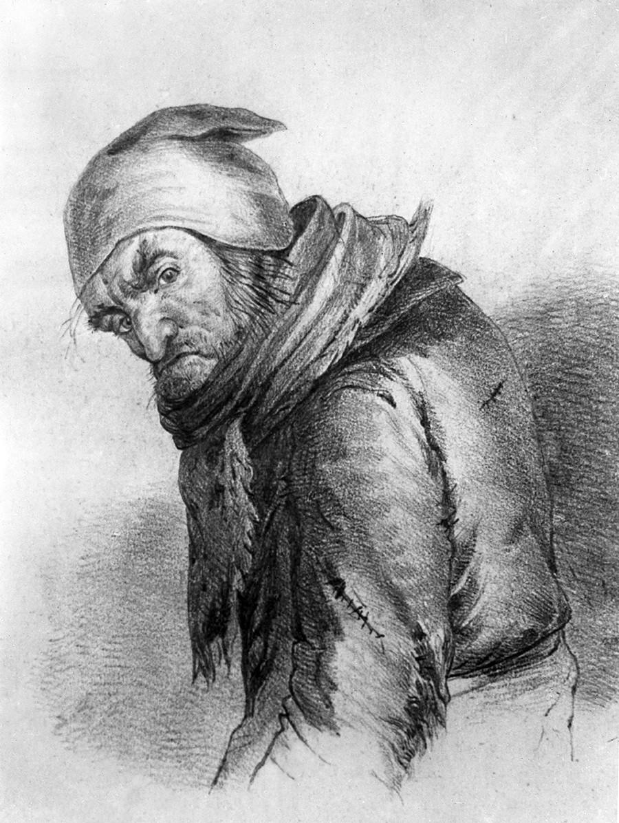 Плюшкин, нарисуван от художника П. В. Боклевский