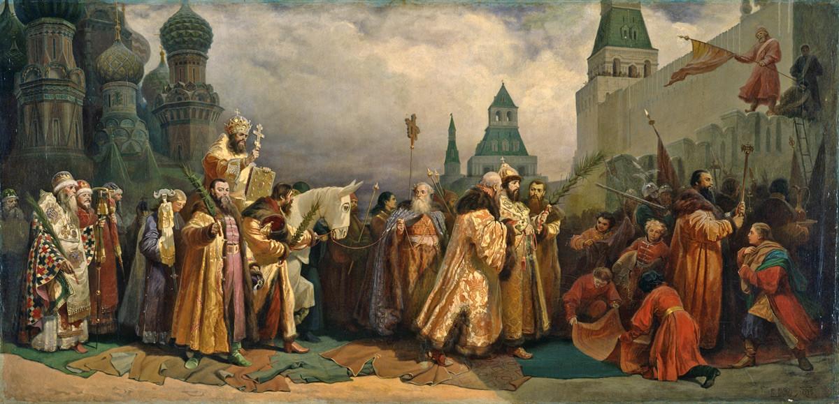 Cvetna nedelja v Moskvi v času carja Alekseja Mihajloviča. Patriarh jaše na oslu.