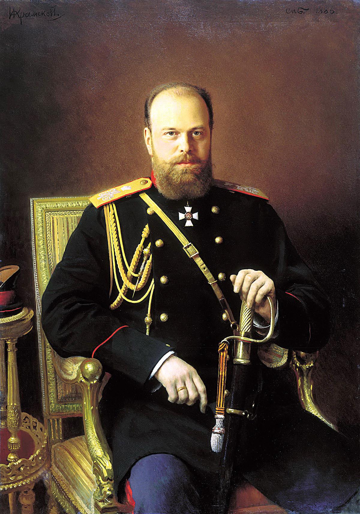 Portret ruskega carja Aleksandra III. (1845 - 1894), olje na platnu, I. N. Kramski.