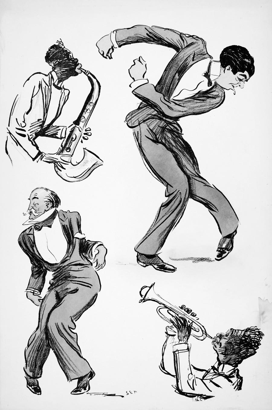スーツを着た二人の男性は踊り、二人のミュージシャンがサクソフォーンとトランペットを弾く。「ホワイト・ボトムズ」、1927年出版。