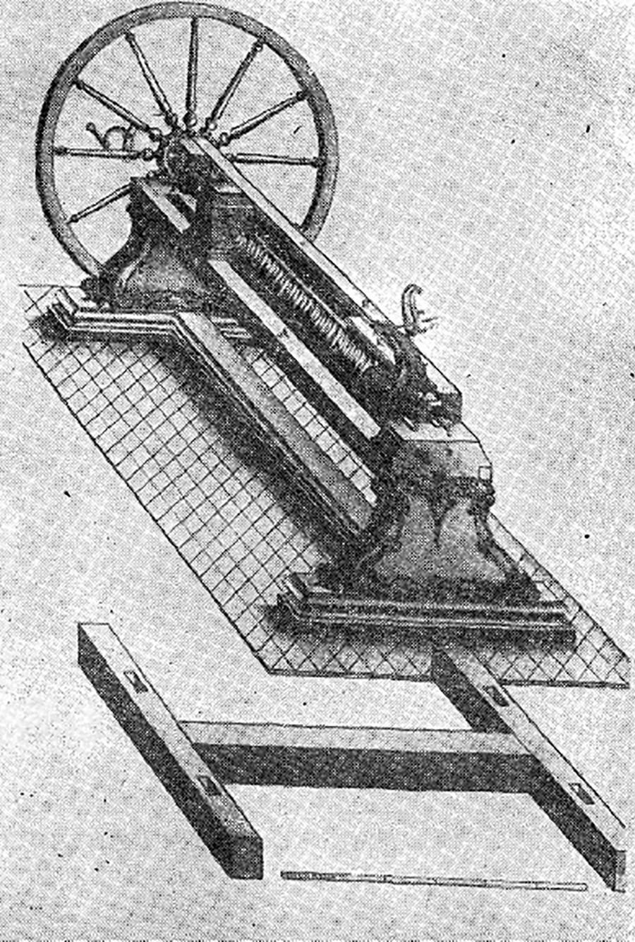 Mesin bubut Andrey Nartov dengan alat pemotong mekanis yang mendukung gerbong.
