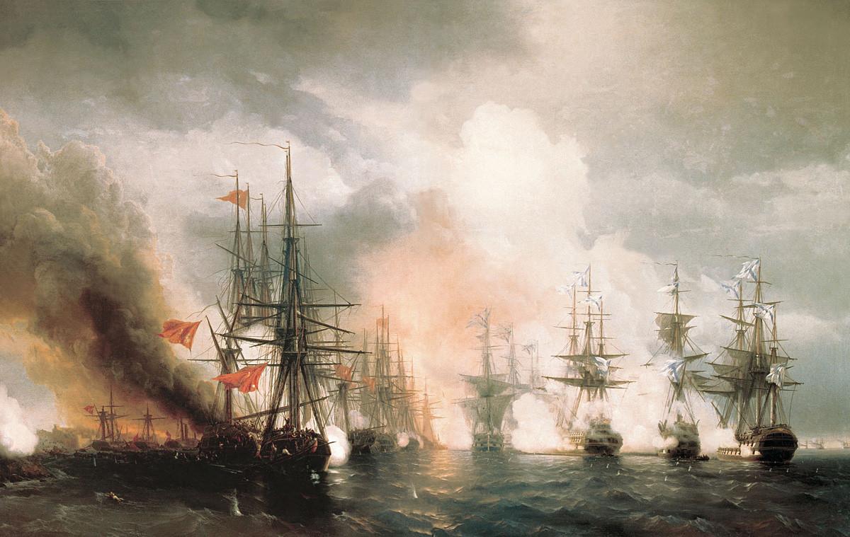 Die Seeschlacht bei Hanko am 27. Juli 1714 von Alexej Bogoljubow