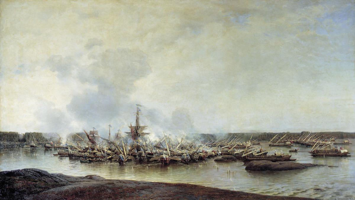 ハンゲの海戦を描いたアレクセイ・ボゴリューボフの絵画。