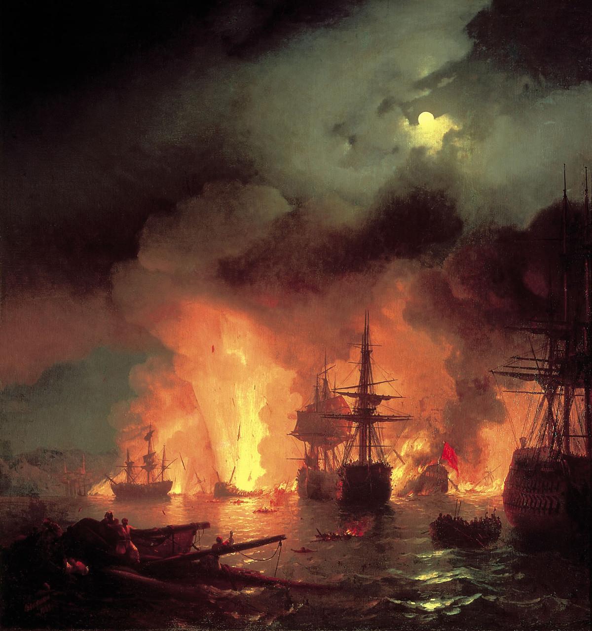 チェスマの海戦を描写するイヴァン・アイヴァゾフスキーの絵画。