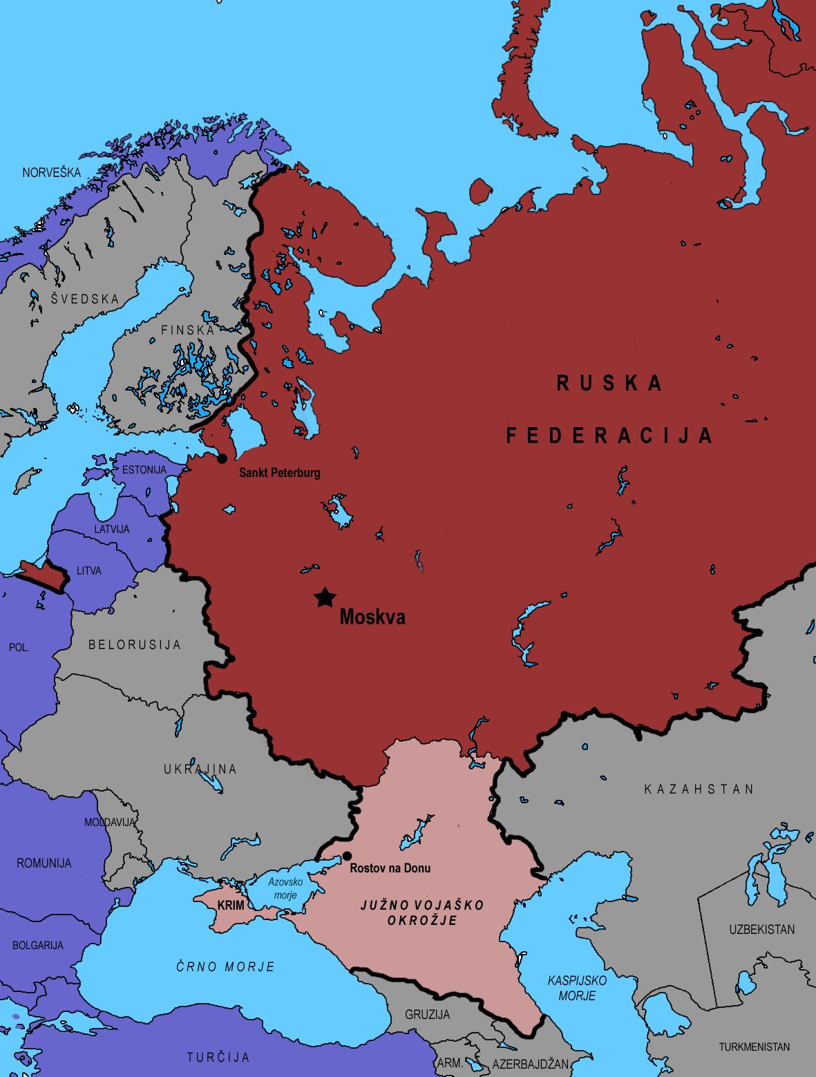 Območje Južnega vojaškega okrožja znotraj Rusije, ki od leta 2014 zajema tudi polotok Krim.
