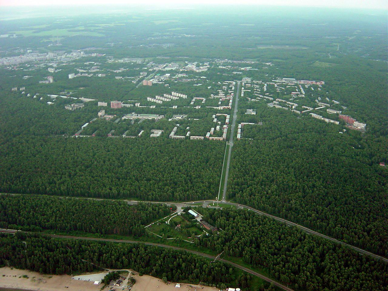 Pogled na Akademgorodok z zraka.