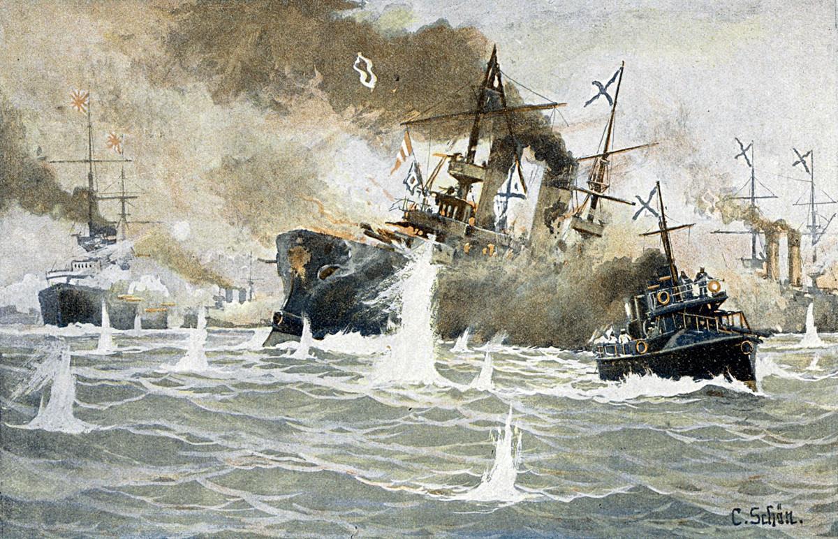 対馬沖海戦。ロシアのロジェストヴェンスキー海軍大将が沈んでいく軍艦「ボロジノ」から水雷艇「ブイニス」へ移る。1905年5月27-28日のロシアの敗戦のシーン。