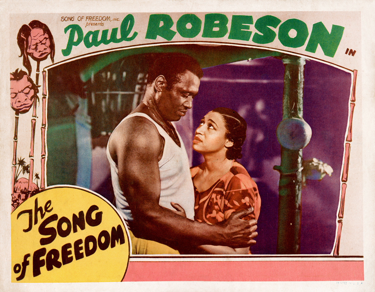 Lobby card from the movie 'The Song of Freedom' (Lion Hammer Films), starring Paul Robeson and Elisabeth Welch, 1936