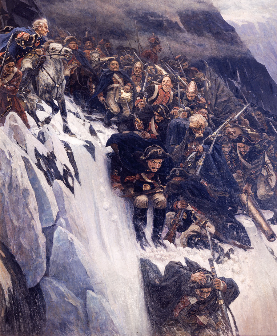 Suvórov cruza los Alpes en 1799.