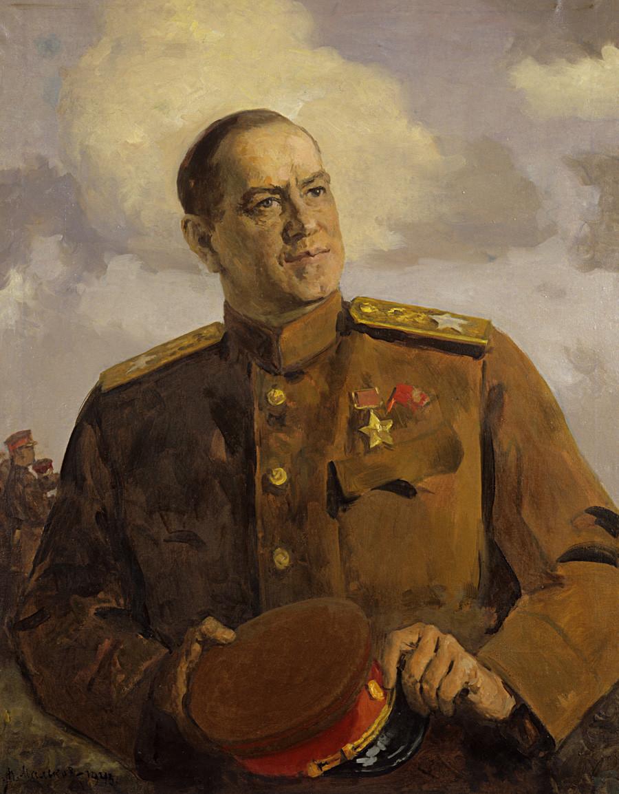 Porträt des sowjetischen Marschalls Georgi Konstantinowitsch Schukow von Pawel Malkow, 1943