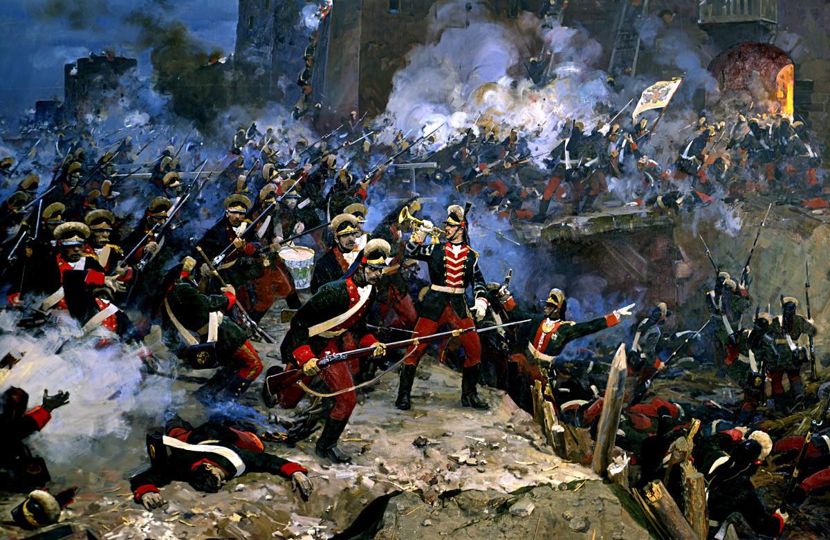 """Ј. Дамилевски, В. Сибирски, Напад на тврдината Измаил, 11 декември 1790, фрагмент, лева страна на диорамата, 1972, Измаил, Историски музеј """"А.В. Суворов""""."""
