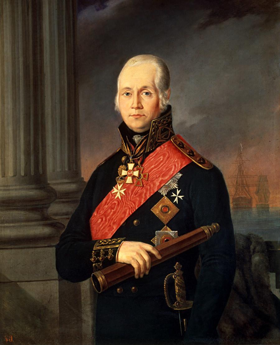 フョードル・ウシャコフ海軍大将の肖像画。画家は不明。19世紀。