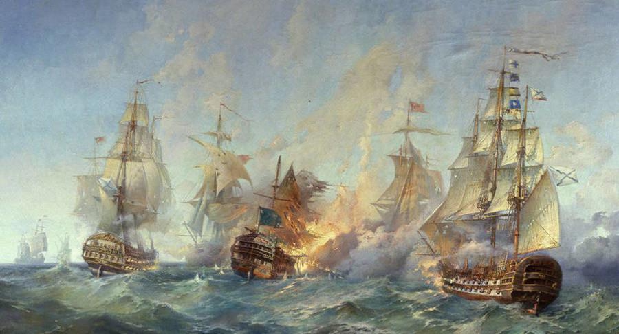 1790年9月8ー 9日に行われたテンドラ島沖海戦。アレクサンドル・ブリンコフ作。