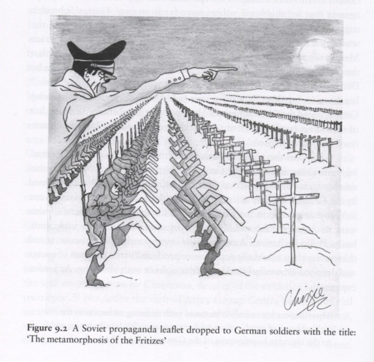 Совјетска карикатура офанзиве немачких војника на Москву.