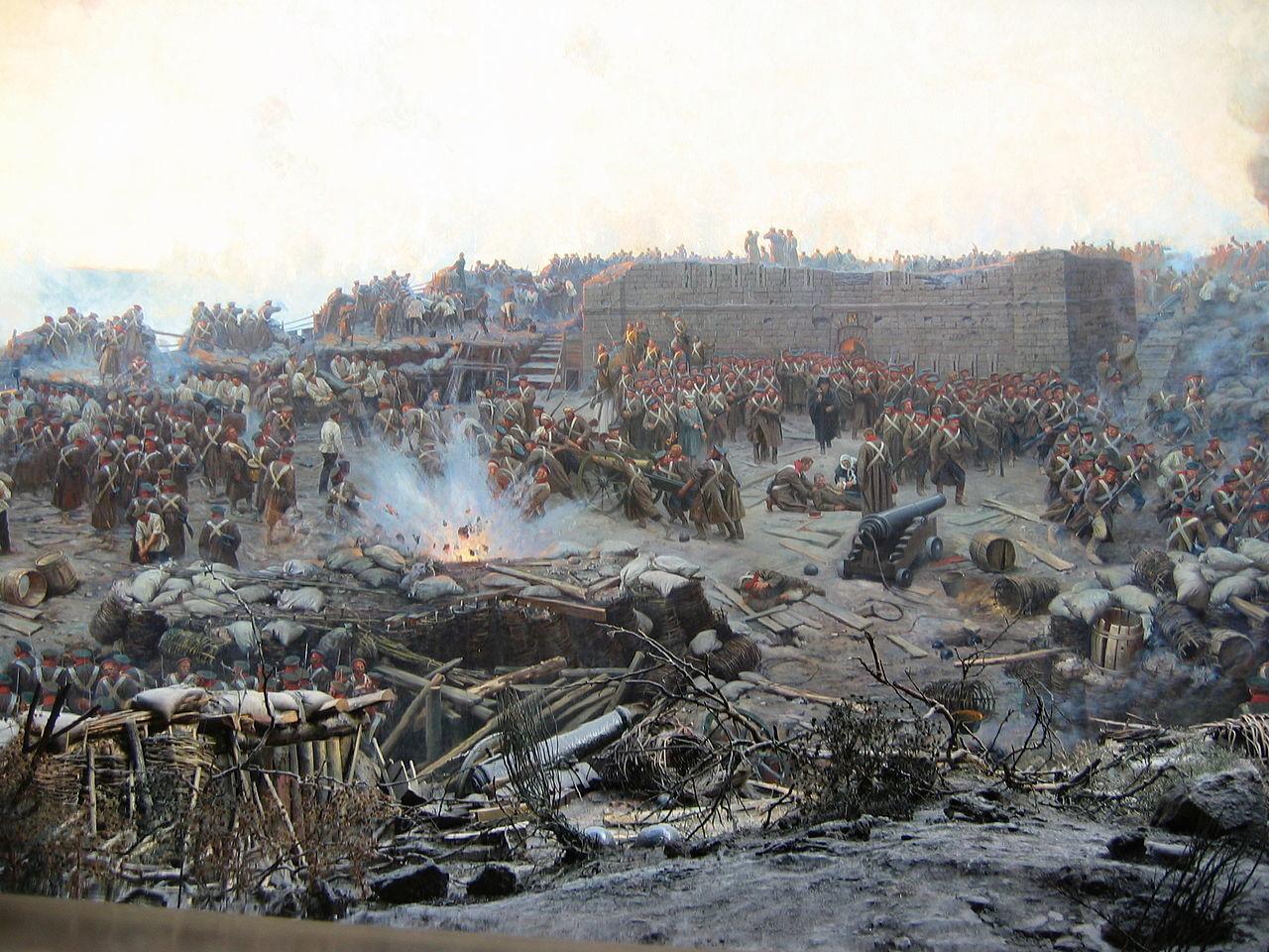El sitio de Sebastopol, detalle de una pintura panorámica.