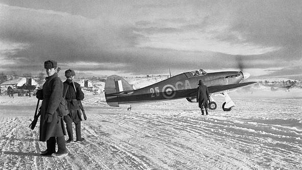 Avión Hawker Hurricane en Váienga, 1941.