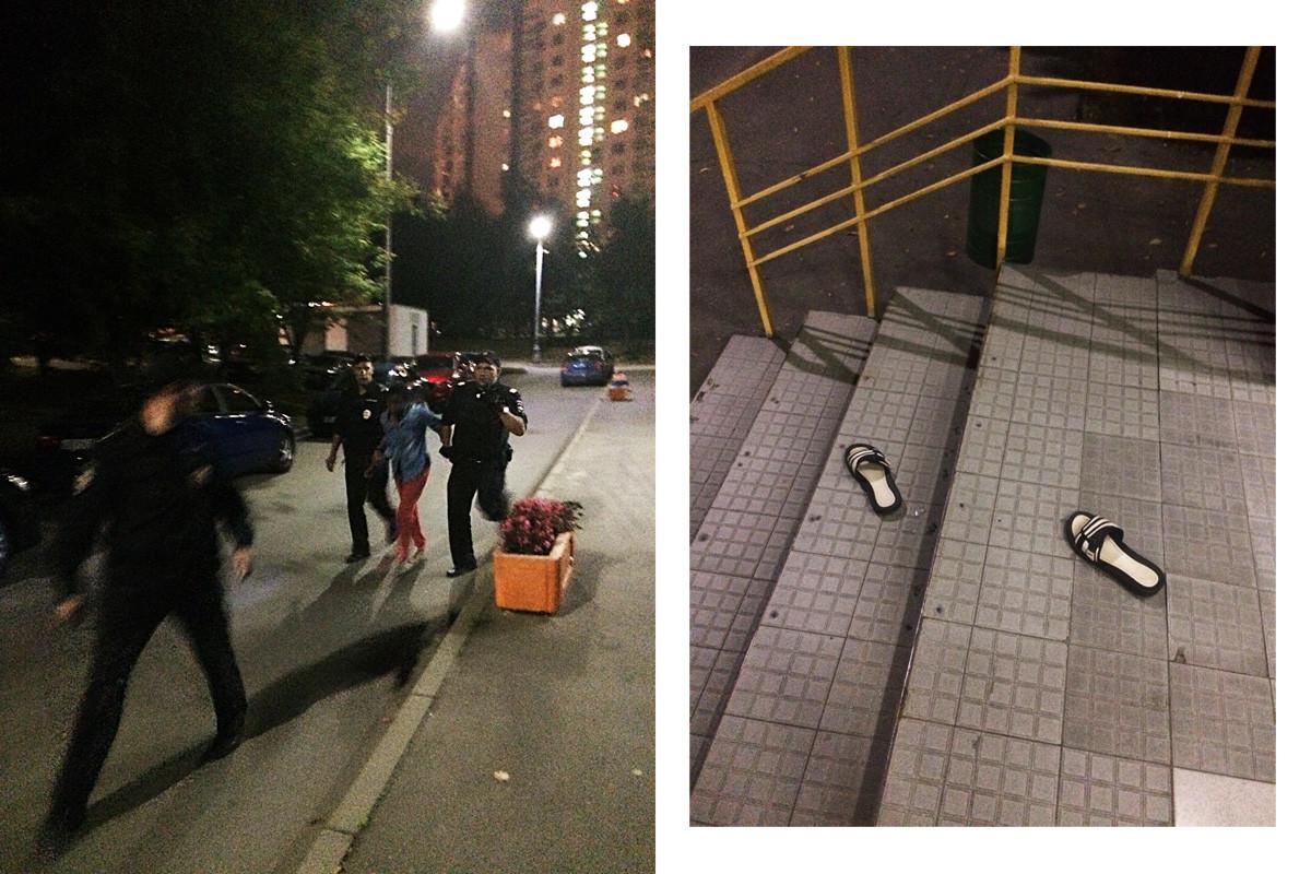 Una delle ragazze è riuscita a sfuggire alla polizia dando un potente strattone. Le ciabatte di gomma le sono scivolate via dai piedi e ha continuato a correre scalza