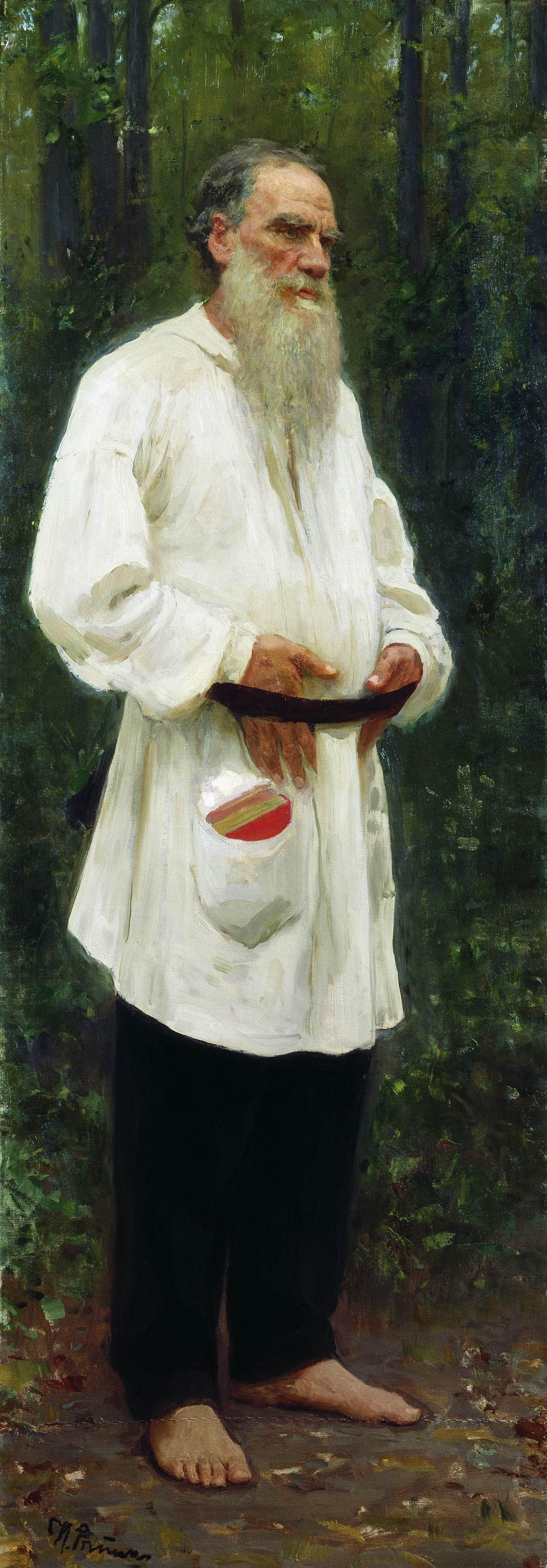 「裸足のレフ・トルストイ」、イリヤ・レーピン、1901年