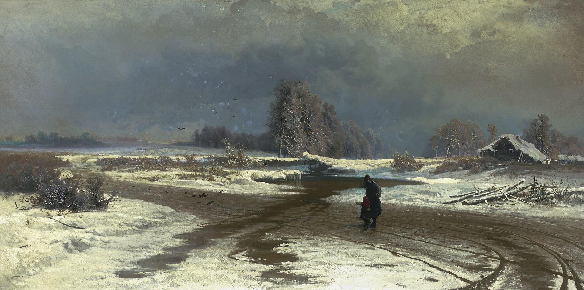 『雪解け』、フョードル・ワシーリエフ、1871年