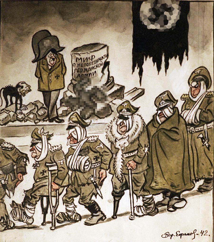 """Хитлерове трупе су приказане исто као Наполеонова војска при повлачењу из Москве 1812. године. Натпис гласи: """"Мит о непобедивости немачке војске"""""""