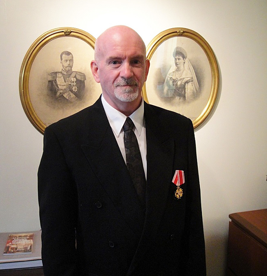 Paul Gilbert wearing the Order of St Stanislaus 3rd Class elevated by Grand Duchess Maria Vladimirovna
