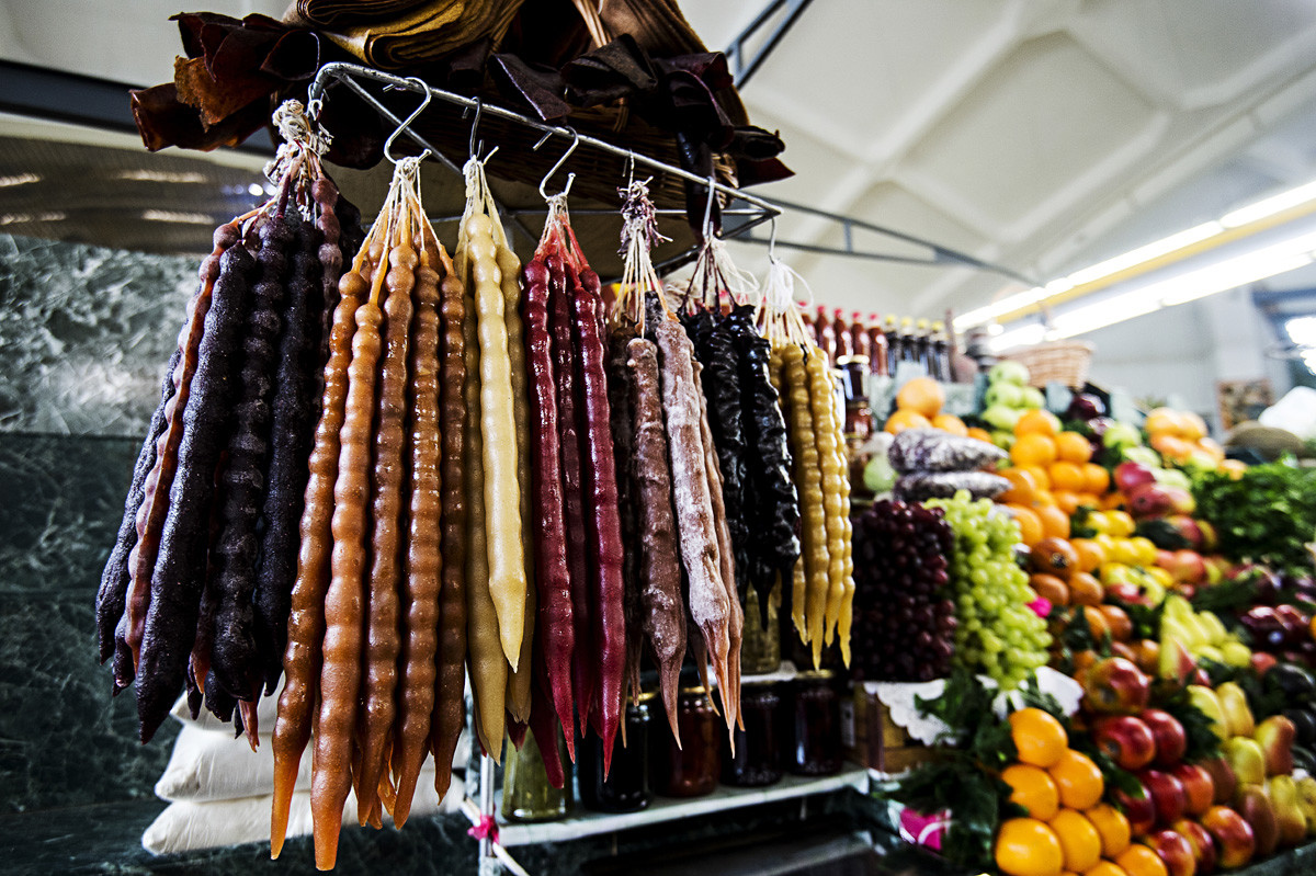 Products on display in the vegetables department at the Dorogomilovsky market in Moscow.