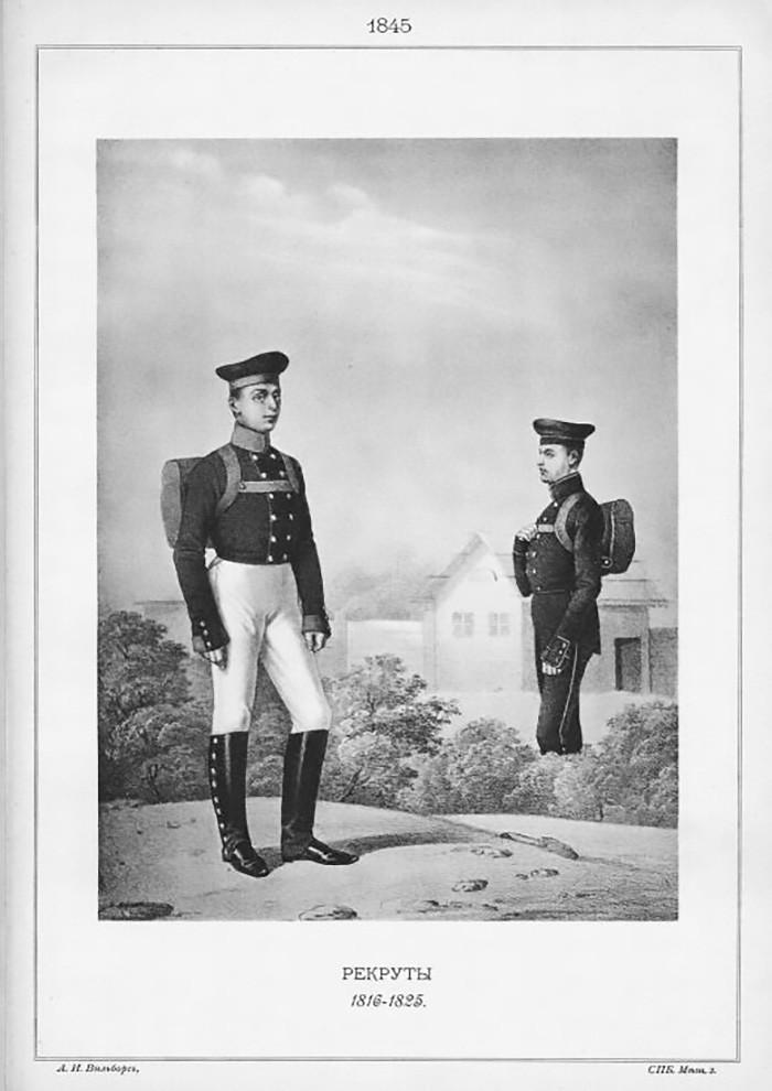 Recrutas, 1816-1825