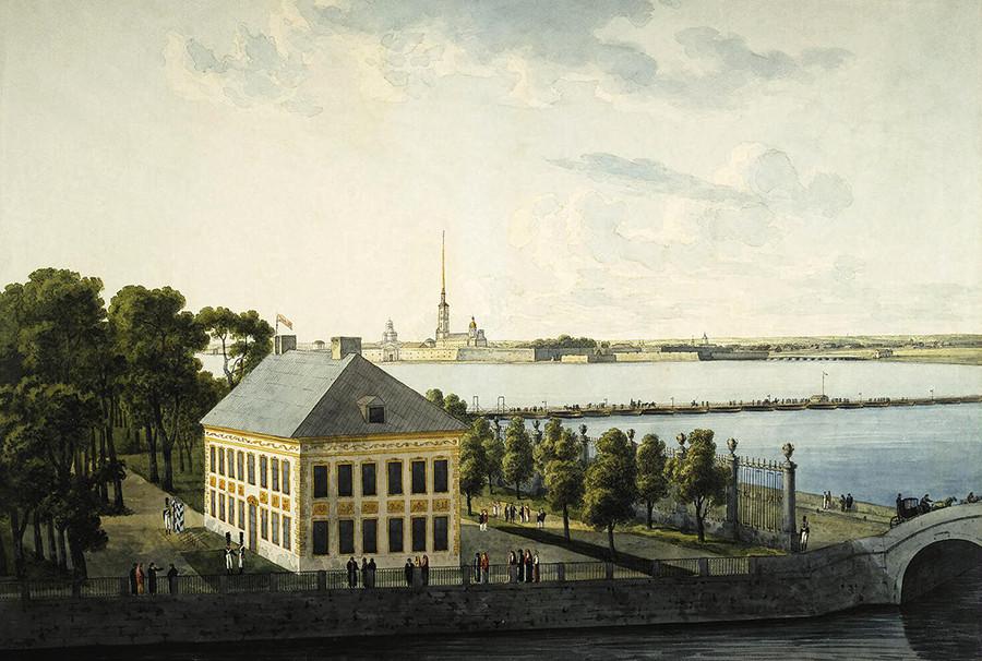 夏の宮殿の内装。絵画「ピョートル1世の夏の宮殿」。アンドレイ・マルテイノフ作。1809年。
