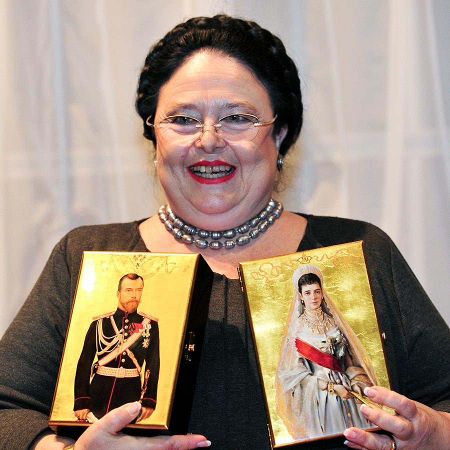 ロシア大公女の敬称を用いているマリア・ウラジーミロヴナ・ロマノワ。モスクワで行われた会議「ロマノフ家:400年渡ってロシアのために勤める」