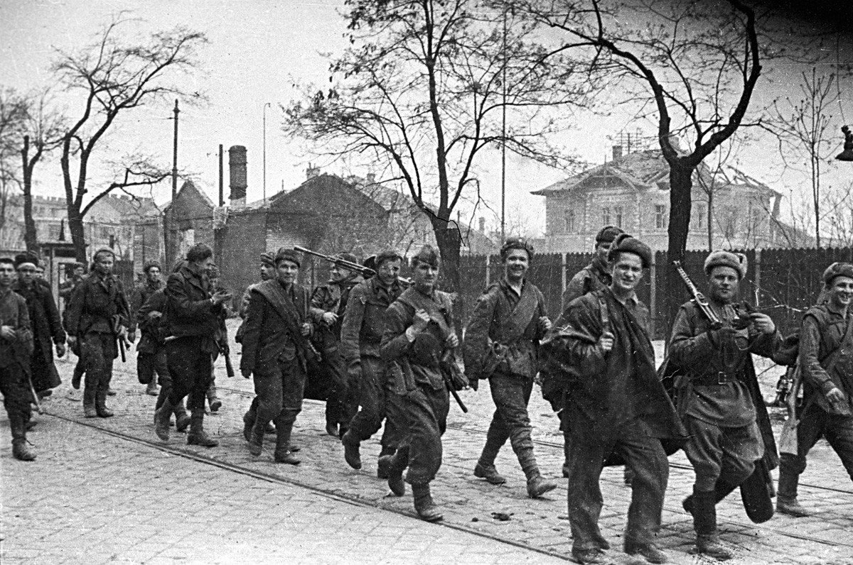 Russian troops march through the streets of Vienna soon after the fighting for the city was over